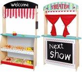 Jouéco 2 in 1 Theater en Winkel met Accessoires - Multi