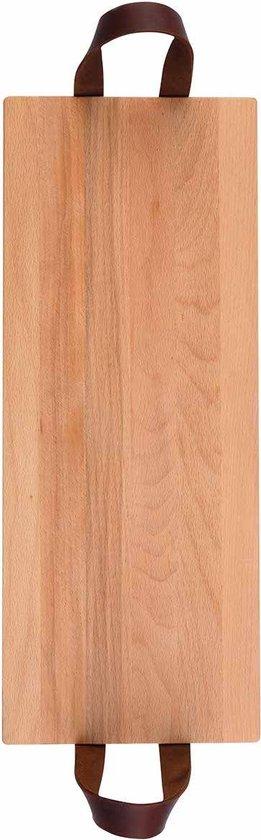 Puur Hout | Beuken Serveertray met handgreep leer 49 x19,5cm