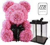 JTB Goods - Rozen teddybeer - rozen beer - rozen beer - roosbeer - rozenbeer - rose bear - roze - geschenk - babyshower - kraamcadeau - handgemaakt - kunstbloemen