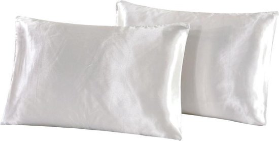 eShopper Satijnen kussensloop - Satijn - Beauty Kussen - Wit 60x70 cm