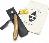 Shavette set incl. 20 mesjes en etui - open scheermes - barbiersmes - scheermes - baardtrimmer - trimmer - klassiek scheermes - safety razor