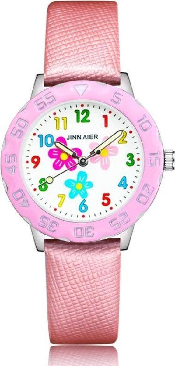 Meisjeshorloge bloem horloge met glow in the dark wijzers deluxe