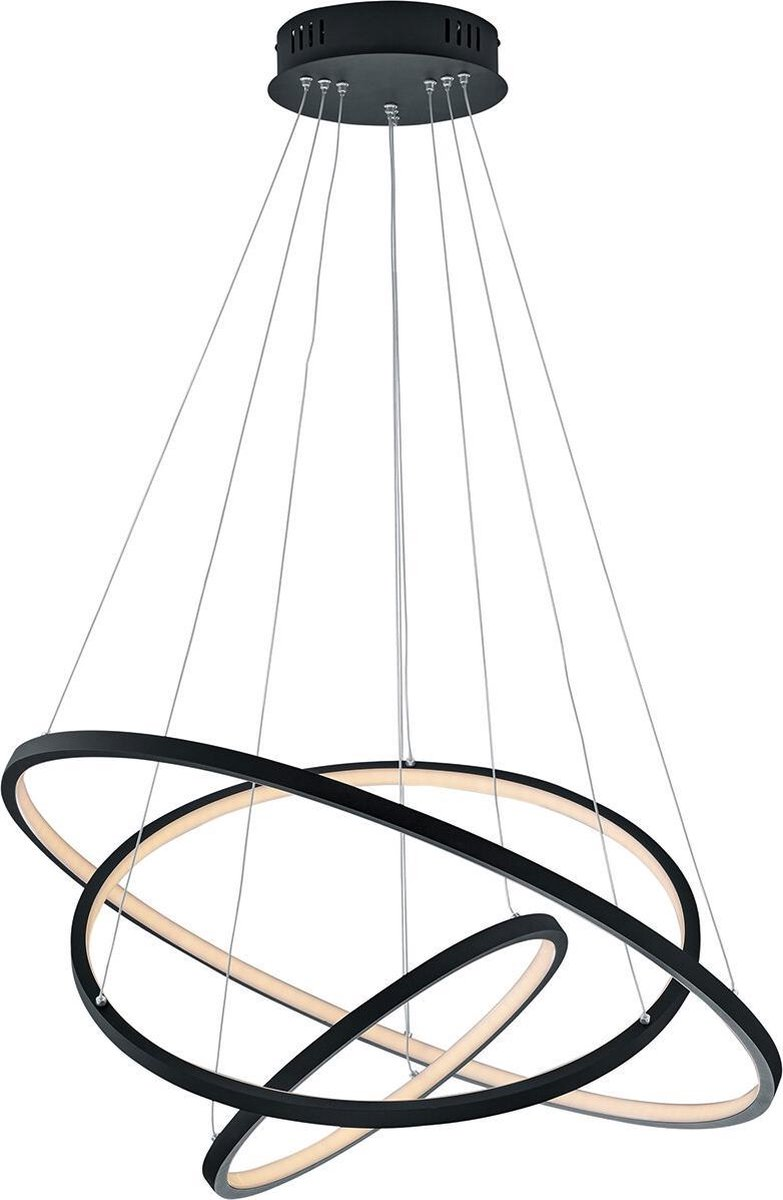 LED Hanglamp WiZ - Smart LED - Hangverlichting - Trion Noraan - 80W - Aanpasbare Kleur - RGBW - Rond - Mat Zwart - Aluminium - BSE