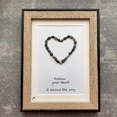 Schilderijtje 3D: Follow your heart it knows the way. 16 x 21 cm.