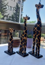 3 Stuks decoratieve accessoires |Houten Giraf beelden |Decoratieve Giraffe figuur |Decoratie beeldjes dieren | 40 cm
