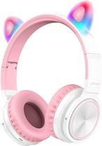 Lovnix Lucky Cat - Draadloze Bluetooth Kinderkoptelefoon - Over-Ear Koptelefoon voor Kinderen - Met Led Kat Oortjes - Wit/Roze
