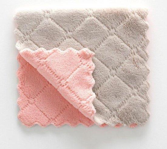 Vaatdoeken - 2 stuks - Vaatdoek - Vaatdoekjes - huishoudelijke schoonmaakmiddelen - Keuken gadgets - Keuken accessoires - Schoonmaken - Zacht materiaal - Grijs - Roze - Meerdere kleuren - Doeken - Herbruikbaar - Microvezel - Kleurig - Theedoek