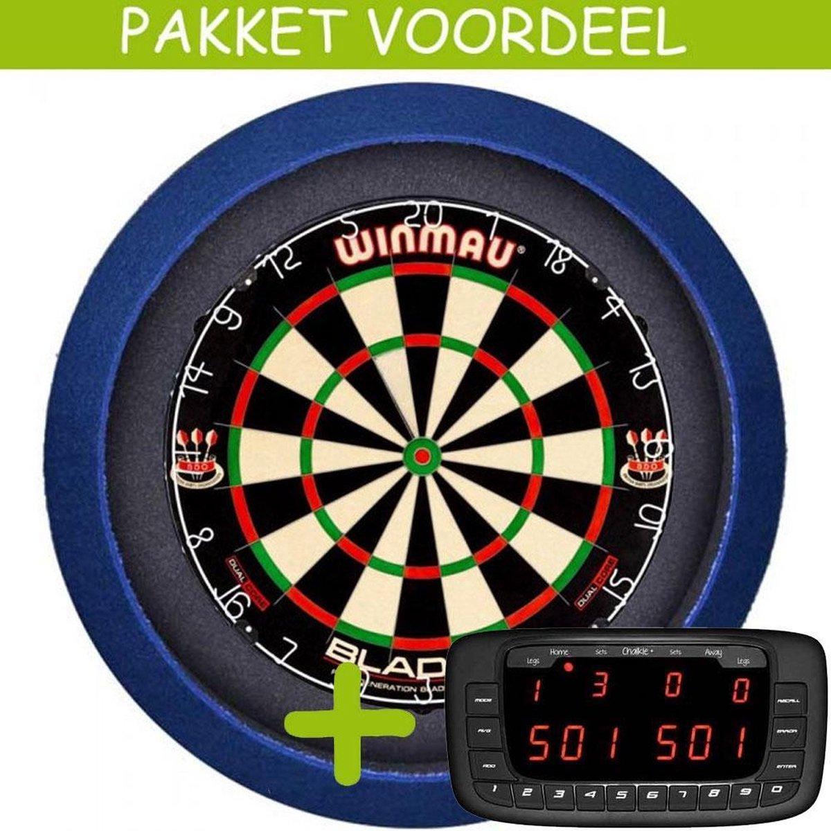 Elektronisch Dart Scorebord VoordeelPakket (Chalkie + ) - Dual Core - Dartbordverlichting Basic (Blauw)