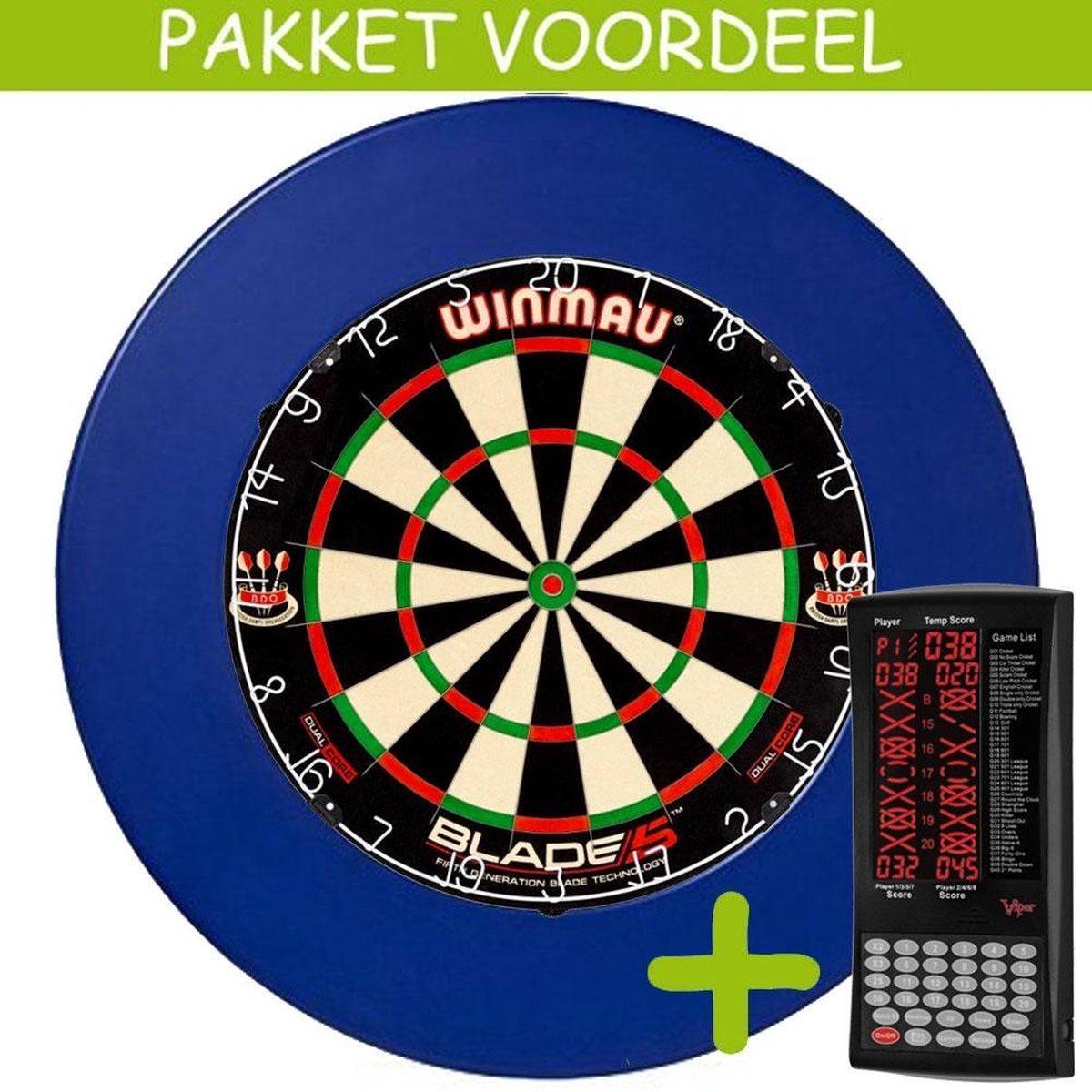 Elektronisch Dart Scorebord VoordeelPakket (Viper ) - Dual Core - Rubberen Surround (Blauw)