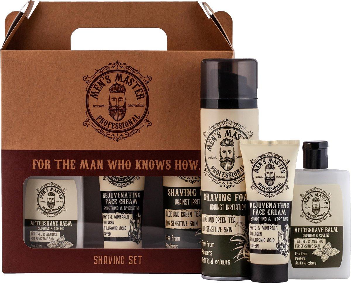 Men's Master Professional Shaving Set Giftset Mannen - Aftershave Balm & Gezichtscr me & Scheerschui