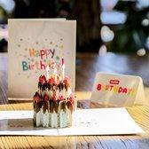 Pop up verjaardagskaart aardbei chocolade taart pop-up wenskaart met berichtpaneel
