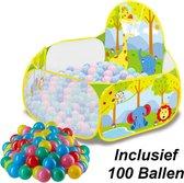 Decopatent® Ballenbak met Basketbal Net - MET 100 Ballen voor Ballenbak - Baby - Dieren print Ballenbad voor kinderen - Ballenbad