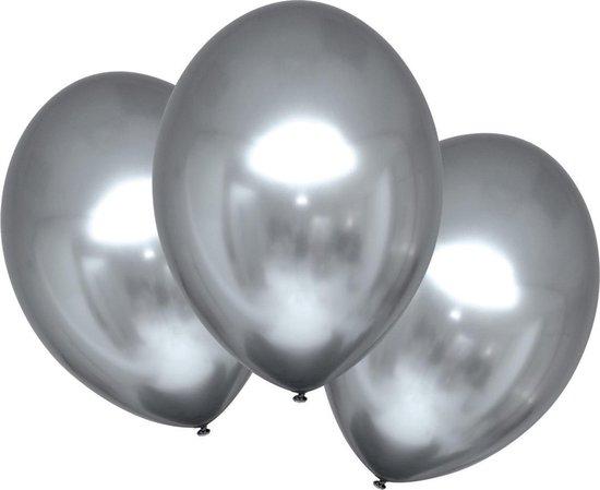 Amscan Ballonnen Metallic 27,5 Cm Latex Platinum 6 Stuks