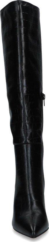 Sacha Dames Zwarte leren laarzen met crocoprint Maat 38