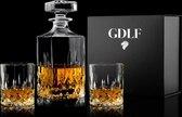 Vintage Whiskey Set in Luxe Geschenkdoos by GDLF - 1 whiskey karaf incl. 2 glazen