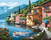 """Diamond Painting Volwassenen - Volledig Pakket - 50 x 40cm - Vierkante Steentjes - Diamant Painting - """"Italiaans Dorp aan het Water"""""""