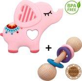HI NATURE™ Bijtringen - Baby bijtring met een rammelaar - Roze Olifant - Grijp bijtspeelgoed - 100% BPA vrij siliconen - Bijtspeelgoed