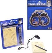 Politieset - Handboeien en Bonnenboekje - Fluit - Agent - Bekeuringen - Politie - Set van 2 - Politie set
