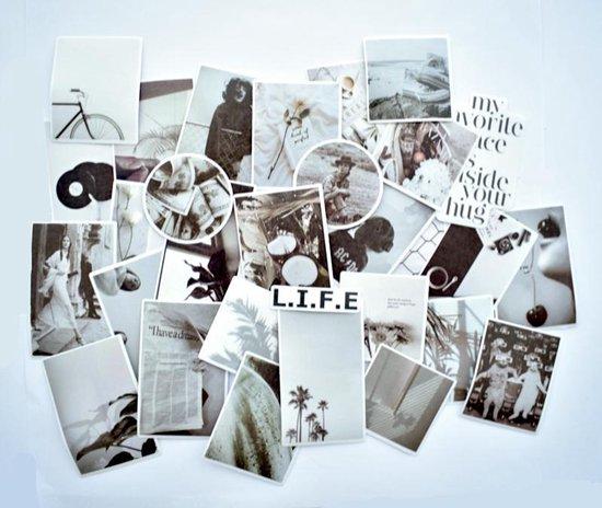 Bullet journal stickers vintage zwart wit -  quotes - 60 stuks - bulletjournal stickers - scrapbook stickers - laptop sticker - telefoon sticker - stickers volwassenen - stickervellen