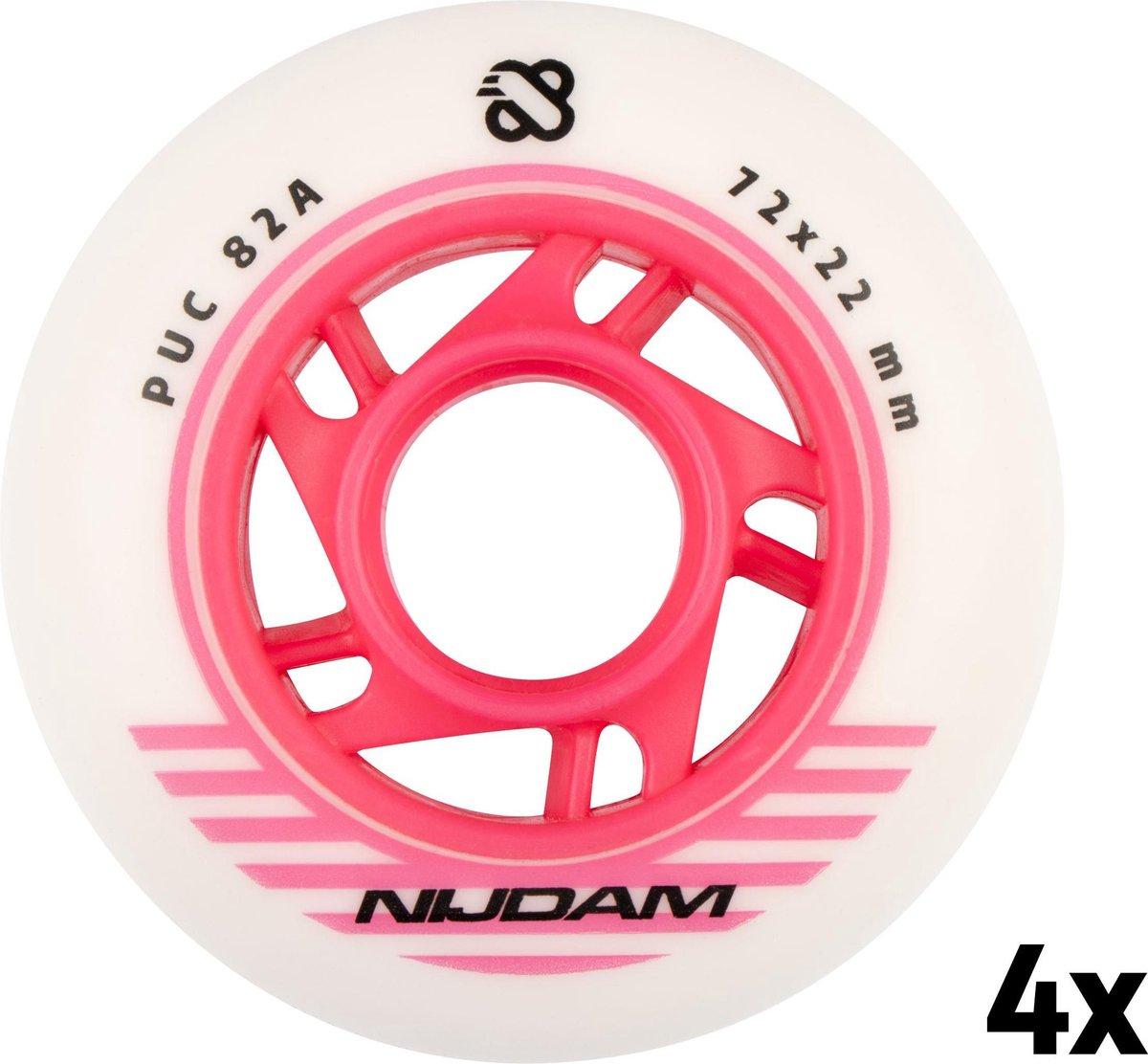 Nijdam Inline Skate Wielen Set - 72x22 mm - 4st - White - Wit/Roze/Zwart