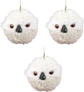 3x Kersthanger figuurtjes uil creme wit 9 cm - Kerstornamenten en kersthangers - Kerstboomversiering