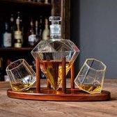 Mikamax – Diamant karaf Set Deluxe – Diamant decanteerder  - Whiskey Decanter – Incl. 2 glazen – 850ml