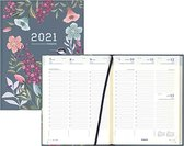 Brepols agenda 2021 - BLOSSOM - Timing - Grijs - Vogel & Bloemen - 7d/2p - 6talig - 17,1 x 22 cm