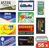 Top Merk double edge scheermesjes - 55 safety razor blades van oa Gillette, Derby, Shark en Astra