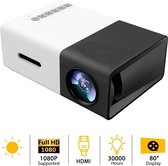 Mini draagbare 1080P LED-projector Outdoor Home Theater met PC Laptop USB / SD / AV / HDMI-ingang Zakprojector voor video TV Movie Party Game Home Entertainment Beamer / Zwart + Gratis HDMI Kabel