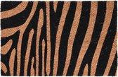 2x Dieren thema deurmat/buitenmat kokos tijger/zebra print 39 x 59 cm - Schoonmaken - Huishouding - Voeten vegen - Deurmatten/buitenmatten/schoonloopmatten - Kokos deurmatten met dierenprint