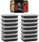 Meal Prep Bakjes - 14 stuks - 1 compartiment - Lunchbox - Diepvriesbakjes - Vershoudbakjes - Plastic Bakjes Met Deksel - Magnetron Bakjes Met Deksel - Meal Prep - Vershouddoos - 1L - BPA vrij – Fitcrafters - Doorzichtig | Zwart