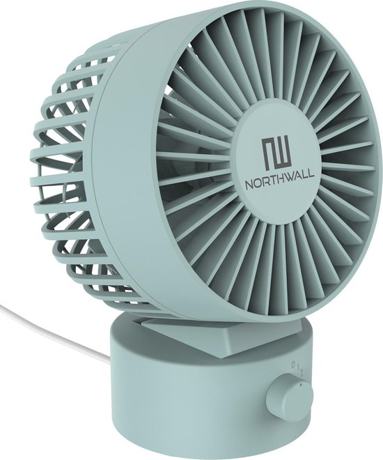 Northwall Mini USB Ventilator - Tafelventilator Blauw - Stille Mini Fan - Retro Bureau Ventilator - Klein, Stil en Geruisloos - Dual Motoren - Kantelbaar - 2 Snelheden