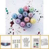 Tie Dye Kit Verf Set Textielverf 12 Kleuren 120ml - T Shirt Tie Dye Set Incl Touw & Handschoenen – Tie Dye Paint - Kindvriendelijk - Hoge Kwaliteit - H4Y®
