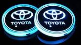 Coole Lichtgevende LED Onderzetters - Bekerhouders - Sfeerverlichting - LED Licht - Interieur Verlichting - 7 Verschillende Kleuren LED - Opladen via USB – Toyota