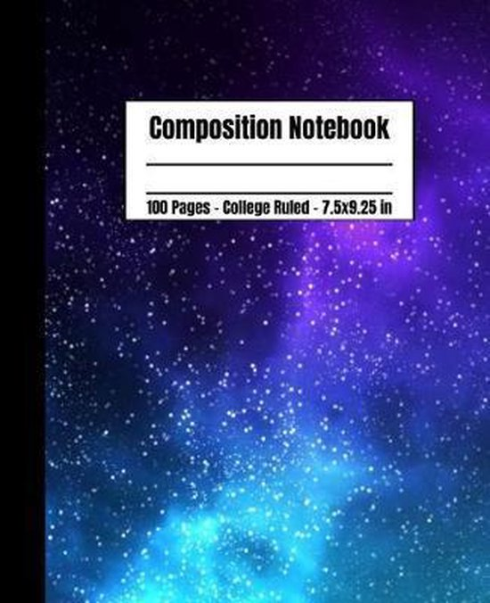 Composition Notebook 100 Pages College Ruled 7.5x9.25: Cute Purple And Teal Galaxy Composition Notebook For School