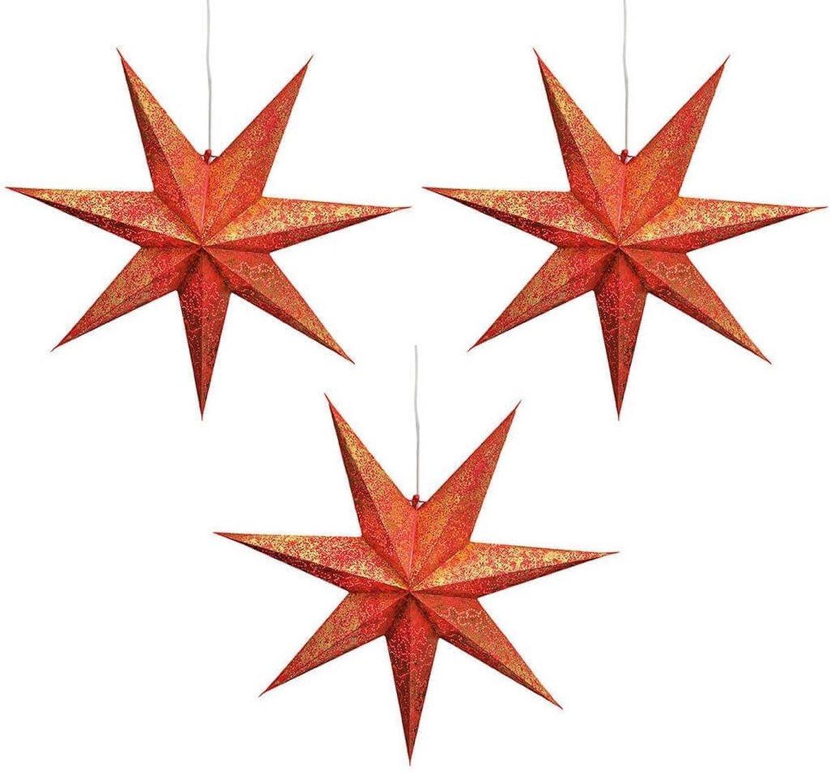 3x stuks kerstversiering rode kerststerren 60 cm - Kerststerren hangdecoraties - Kerstversiering kopen