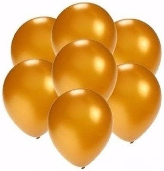 30x stuks Voordelige metallic gouden ballonnen klein formaat 13 cm - Feestartikelen/versieringen