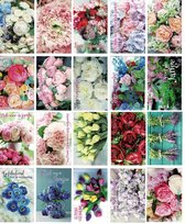 20 Bloemen Verjaardag Wenskaarten - 12x17cm Verjaardagskaarten met enveloppen