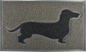 Esschert Design Deurmat PVC Teckel grijs/zwart - 74,8 x 44,5 x 1,6 cm