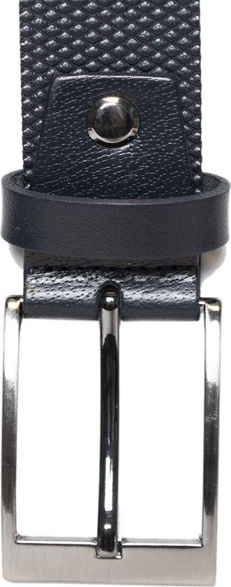 Echt Leren Riem Donkerblauw - 3.5 cm Breed Met Een Gestippeld Patroon - Riem Dames - Riem Heren - Taillemaat 90 cm