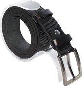 Zwarte Leren Riem - 100 % Echt Lederen Riem - 3 cm Breed Met Een Gestippeld Patroon - Taillemaat 105 cm