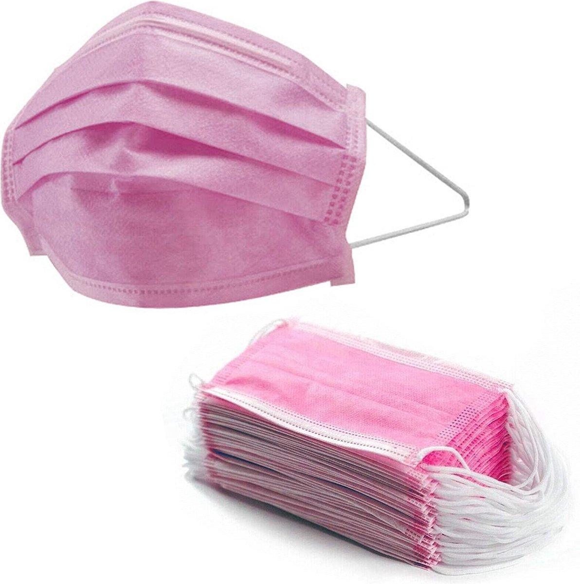 50 stuks Roze 3 laags wegwerp mondkapjes | Mondmasker niet Medisch