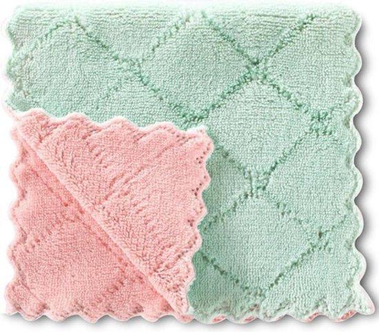 Vaatdoeken - 2 stuks - Vaatdoek - Vaatdoekjes -  huishoudelijke schoonmaakmiddelen - Keuken gadgets - Keuken accessoires - Schoonmaken - Zacht materiaal - Groen - Roze - Meerdere kleuren - Doeken - Herbruikbaar - Microvezel - Kleurig - Theedoek