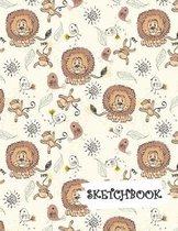 Sketchbook: Lion Monkey & Flowers Fun Framed Drawing Paper Notebook