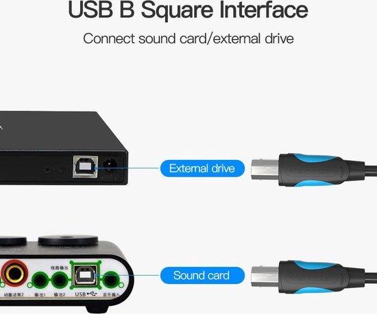 Vention Printer Kabel USB 2.0 A Male naar USB B Male Print 2 meter