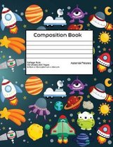 College Rule Composition Book: Galaxy Stars Space UFOs Aliens Astronauts