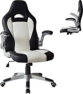 Bureaustoel Thomas - gamestoel - inklapbare armleuning ergonomisch - wit zwart