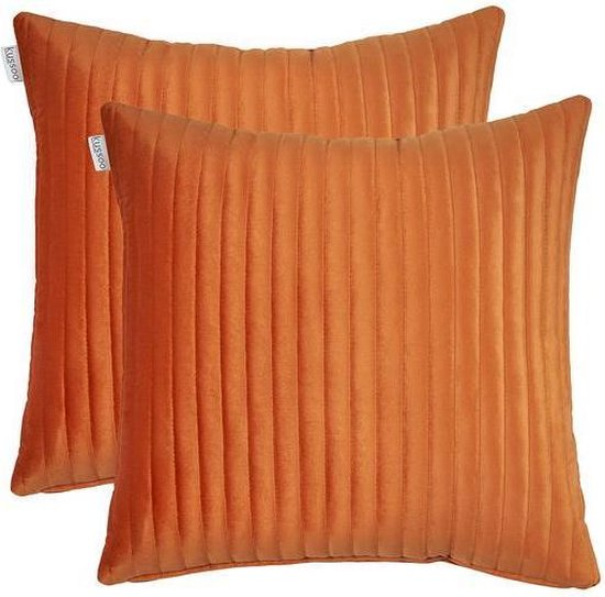 Sierkussen Fluweel Streep Oranje 50x50 cm set van 2