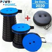 POWRHome - Uitschuifbare Kruk, Stoel V2 - Incl. Zitkussen - Blauw
