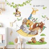 Muursticker   Vrolijke Dieren  Hangmat   Wanddecoratie   Muurdecoratie   Slaapkamer   Kinderkamer   Babykamer   Jongen   Meisje   Decoratie Sticker